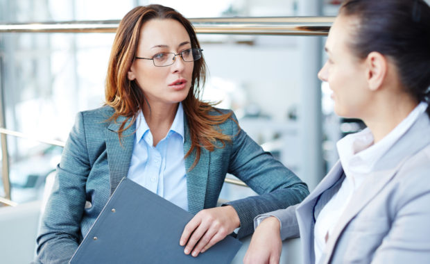 an HR consultant talks to a prospective clients employee