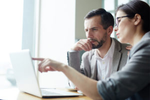 employee shows the HR consulting firm consultant something in the laptop