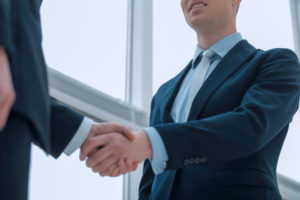 after termination professional meets an employer for a job interview