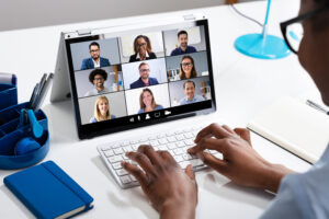 the company meeting was done on a video conferencing platform to accommodate the introverts and extroverts