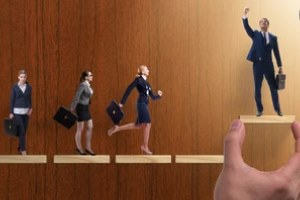 male employee standing and female employee running
