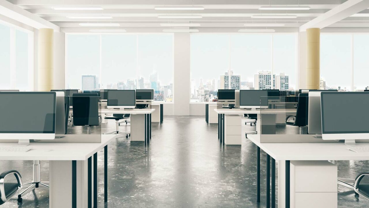 an office space owned by a company that is following a hybrid work model