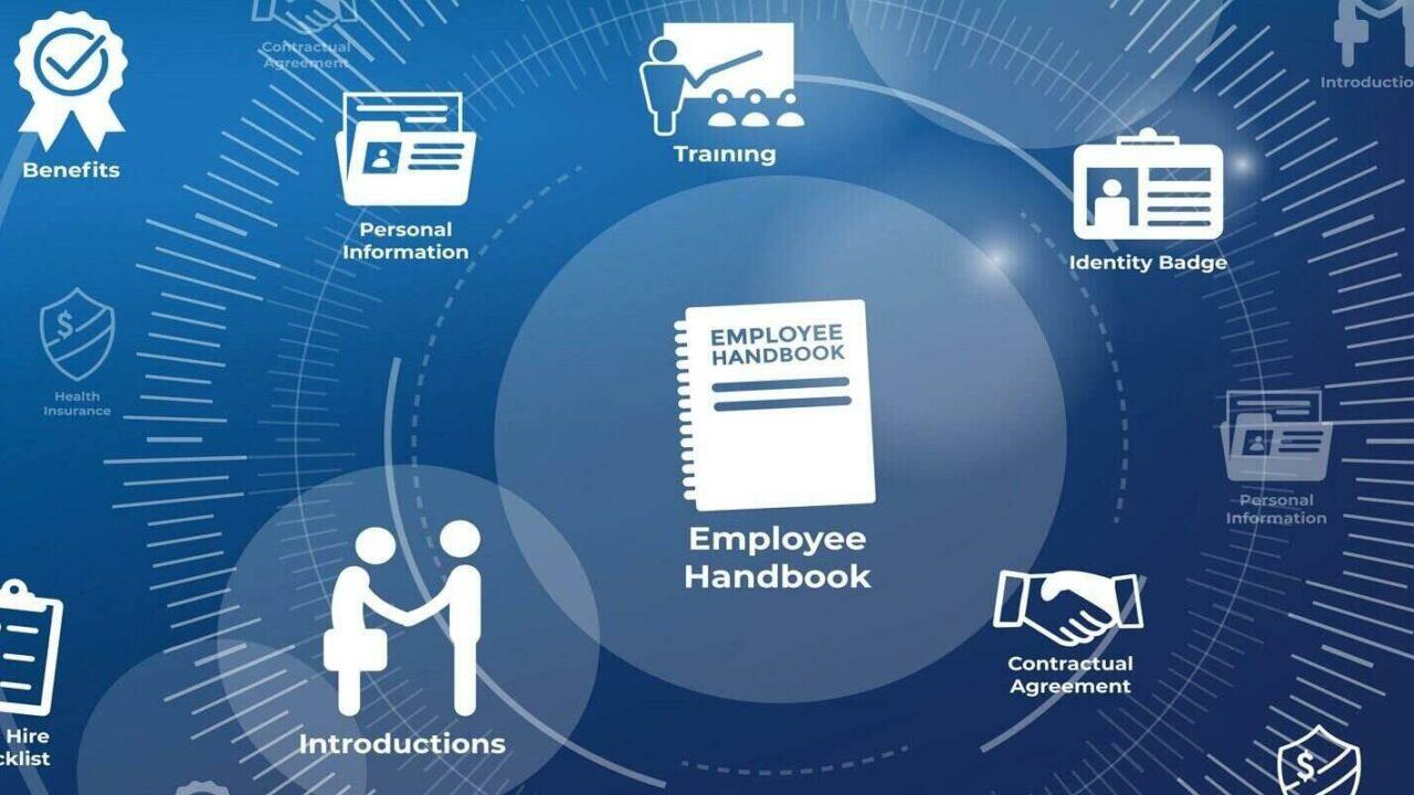 new employee hiring process icon set w handbook